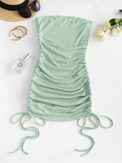 ZAFUL Cinched Ribbed Bandeau Dress - Pale Blue Lily S