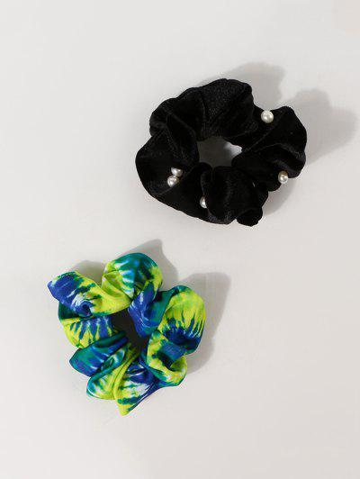 2Pcs Tie Dye Faux Pearl Scrunchies Set - Multi-a