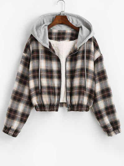 Hooded Faux Shearling Lined Plaid Jacket - Deep Coffee S