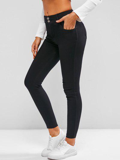 Pantalon Maigre Avec Poche à Taille Moyenne - Noir Xxl