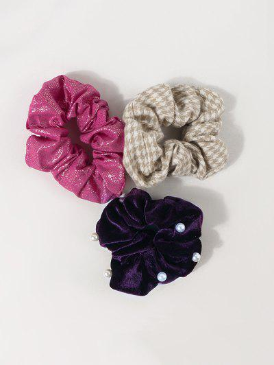 3Pcs Houndstooth Faux Pearl Scrunchies Set - Multi-a