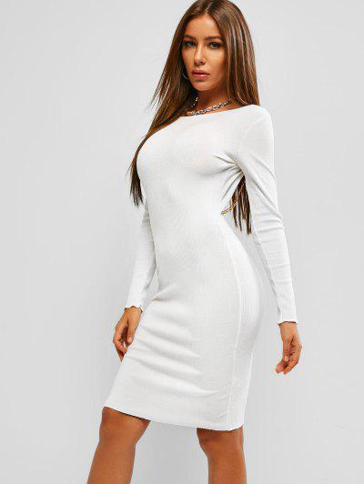 Ribbed Chain Backless Long Sleeve Dress - White M