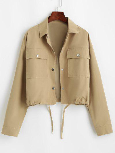 Flap Pocket Front Snap Button Drawstring Hem Jacket - Coffee M