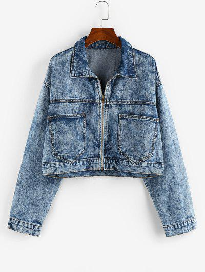 Pockets Zipper Drop Shoulder Denim Jacket - Blue M