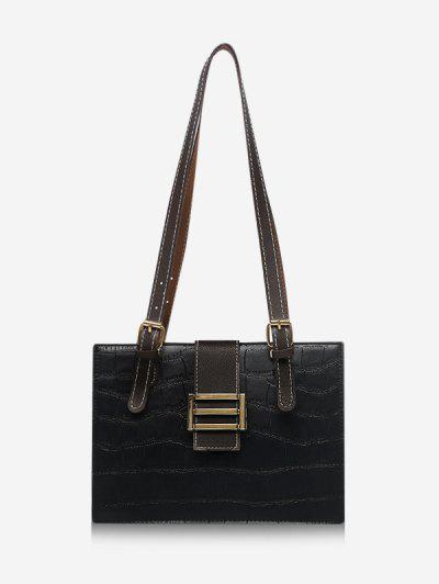 Textured Colorblock Shoulder Bag - Black