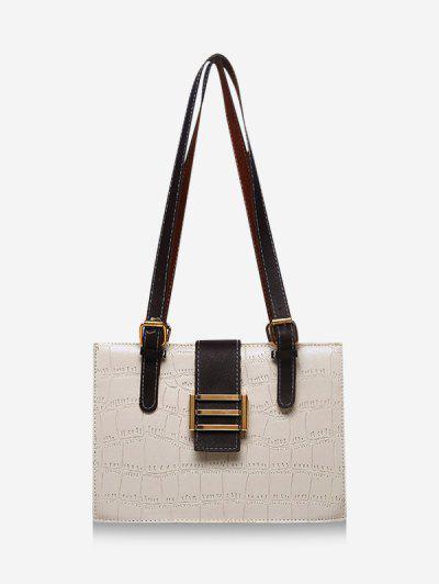 Textured Colorblock Shoulder Bag - Milk White