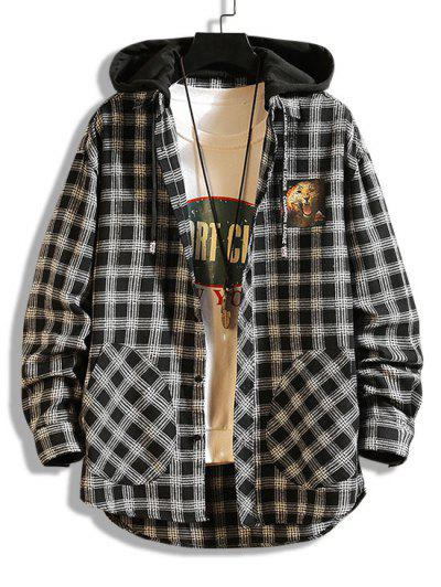 Leopard Print Plaid Colorblock Hooded Shirt Jacket - Black Xs