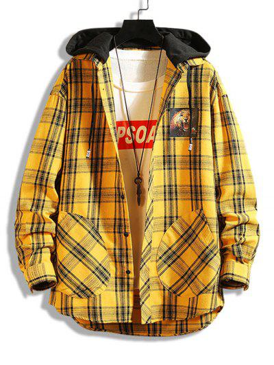 Leopard Print Plaid Colorblock Hooded Shirt Jacket - Yellow Xs