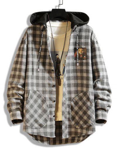 Leopard Print Plaid Colorblock Hooded Shirt Jacket - Gray M
