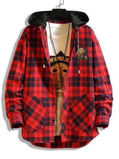 Veste à Capuche Léopard Imprimé à Carreaux En Blocs De Couleurs - Rouge S