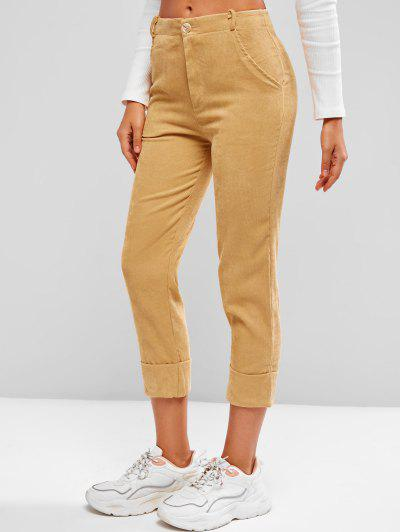 Cuffed Hem Tapered Corduroy Pants - Deep Yellow Xl