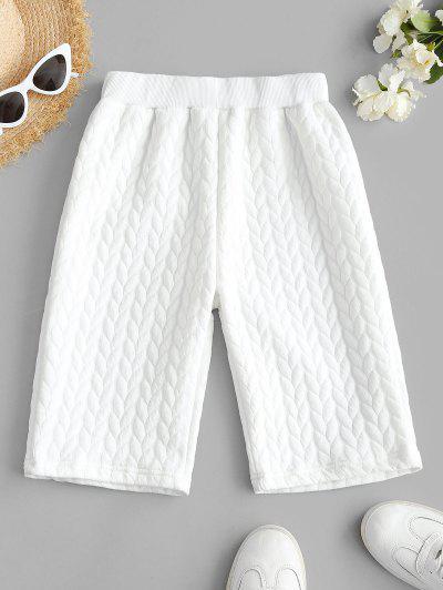 High Waisted Ribbed Trim Biker Shorts - White M