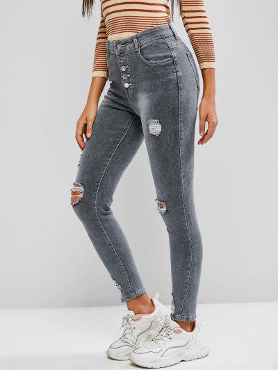 Jeans Magro Rasgados De Cintura Alta E Botão - Cinza Claro L