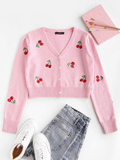 Cropped Button Up Cherry Embroidered Cardigan - Light Pink