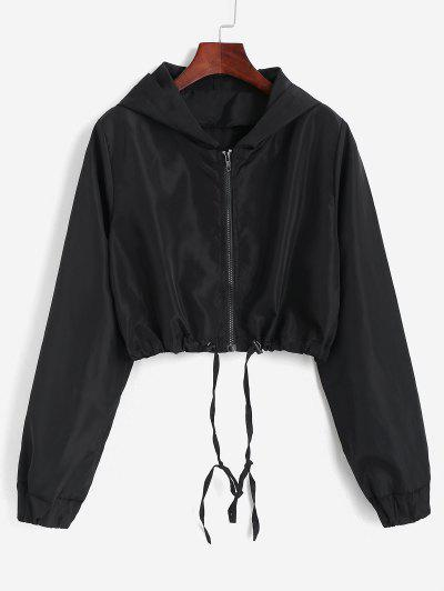 Hooded Cropped Windbreaker Jacket - Black M