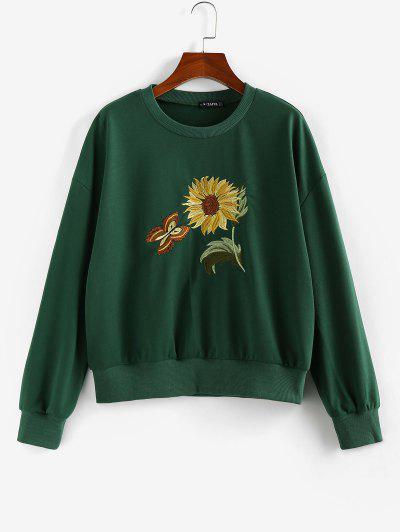 ZAFUL Flower Butterfly Embroidered Drop Shoulder Sweatshirt - Deep Green L