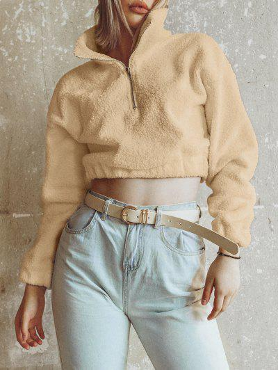 Half Zip Plain Faux Fur Sweatshirt - Tan L
