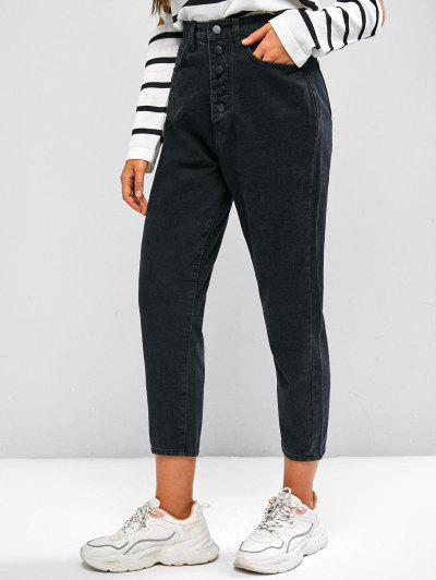 Basic High Waisted Tapered Jeans - Black S