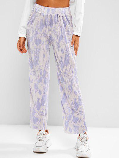 High Waisted Pleated Tie Dye Wide Leg Pants - Multi-h S
