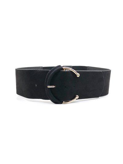 C Shape Buckle Elastic Wide Belt - Black