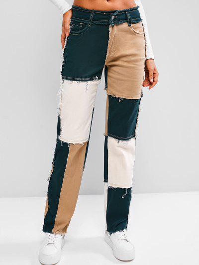 Mid Rise Frayed Colorblock Straight Jeans - Light Coffee S