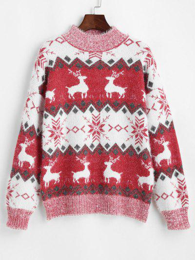 Mock Neck Christmas Elk Snowflake Fuzzy Sweater - Red