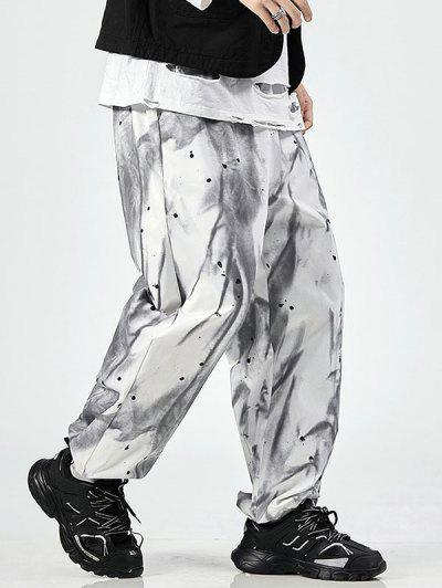 Pantalon Teinté Peinture Eclaboussée Imprimée à Taille Elastique - Blanc L