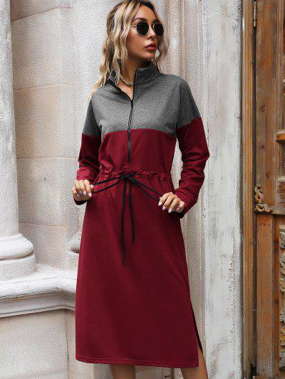 Drawstring Zip Front Colorblock Sweatshirt Dress - Red L