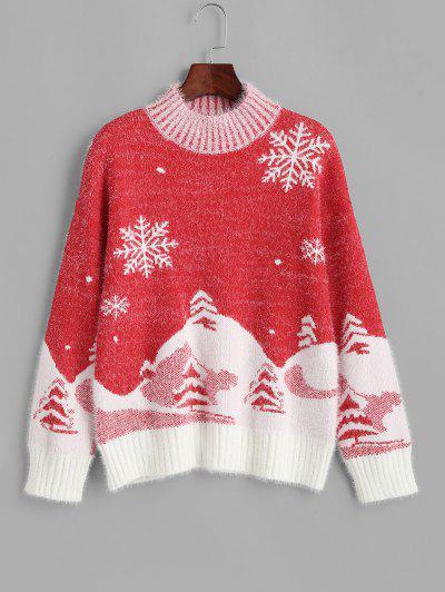 Jersey Navideño Cuello Alto Copo De Nieve Fuzzy - Rojo