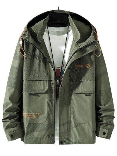 Camouflage Slogan Print Flap Pocket Hooded Jacket - Army Green M