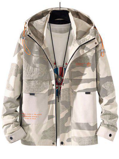 Camouflage Slogan Print Flap Pocket Hooded Jacket - Light Khaki M