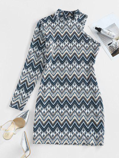 ZAFUL Zig Zag Geo One Sleeve Mock Neck Bodycon Dress - Multi M