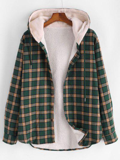 Plaid Faux Fur Fluffy Hooded Shirt Jacket - Deep Green L