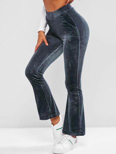 Pockets Velvet Flare High Waisted Pants - Deep Blue Xl