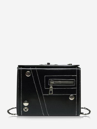Rectangle Chain Crossbody Bag - Black