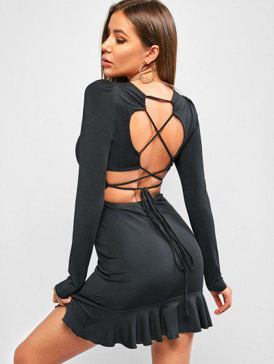ZAFUL Lace Up Flounce Bodycon Mini Dress - Black M
