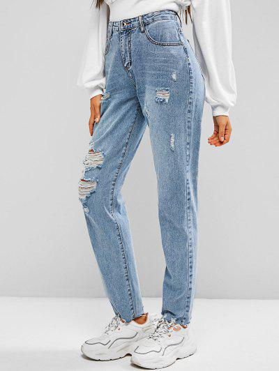 Ripped Zipper Fly Mom Jeans - Light Blue S