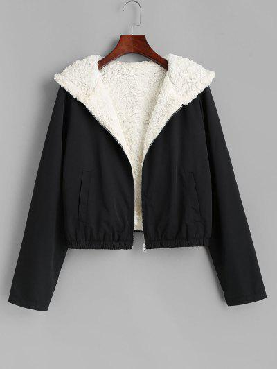 ZAFUL Teddy Lined Hooded Coat - Black L