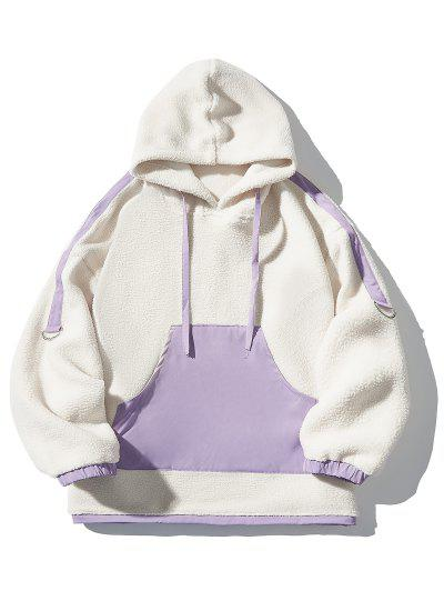 Zaful / Contrast Kangaroo Pocket Fleece Hoodie