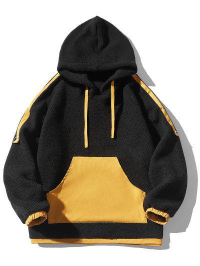 Contrast Kangaroo Pocket Fleece Hoodie - Black M