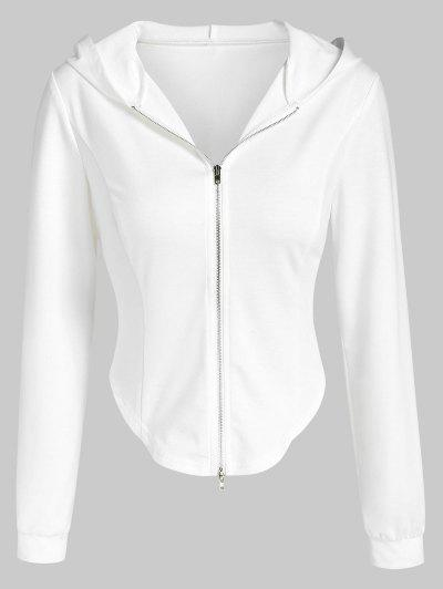 ZAFUL Irregular Cropped Zip Up Hoodie - White M