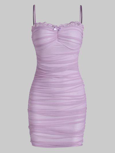 Mesh Lace Trim Ruched Cami Bodycon Dress - Purple S