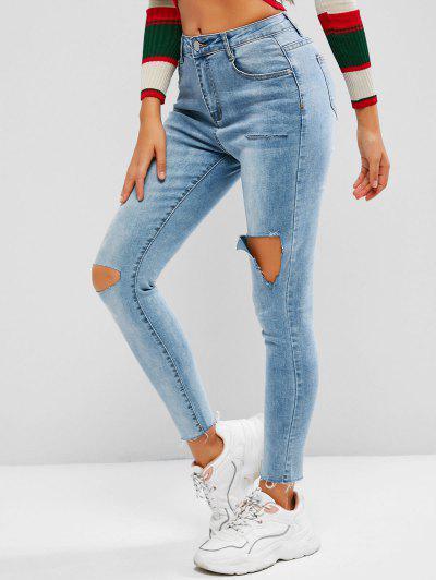 Distressed High Waisted Frayed Hem Skinny Jeans - Blue S