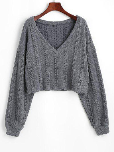 ZAFUL Plunge Cropped Cable Knit Sweater - Gray M