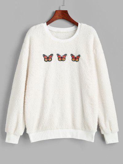 Ribbed Trim Fluffy Butterfly Embroidered Sweatshirt - White L