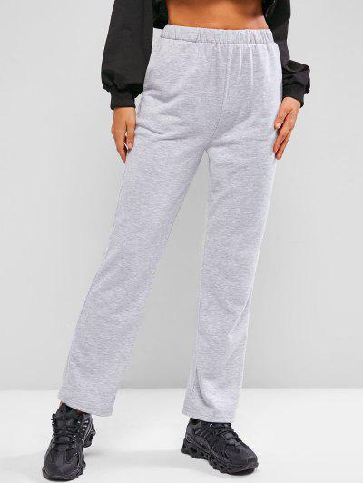 Heather Pocket High Waisted Straight Sweatpants - Light Gray S