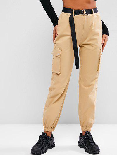 ZAFUL Boyish Pockets Belted Cargo Pants - Khaki M