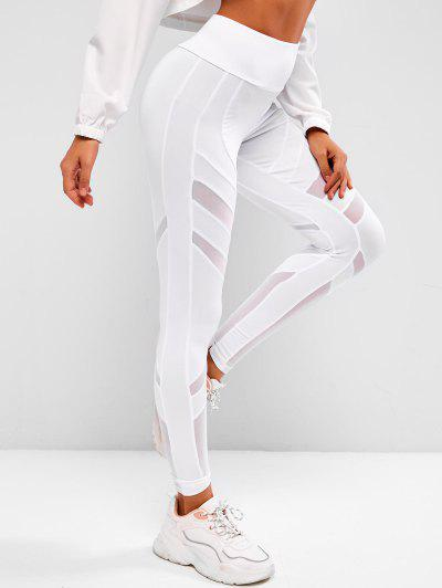 Mesh Panel Wide Waist Sports Leggings - White L