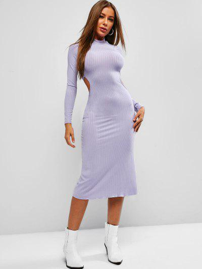 Tie Back Ribbed Backless Midi Dress - Medium Purple S