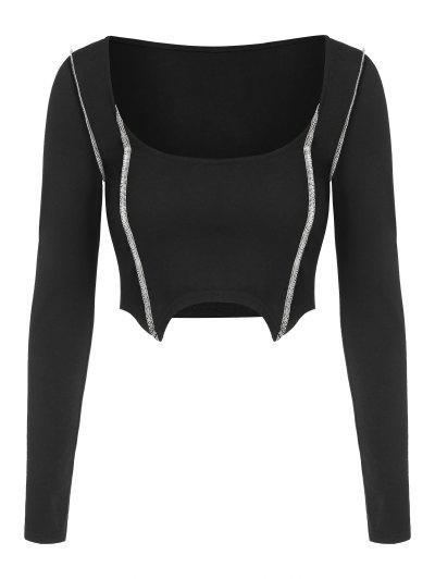 ZAFUL Topstitching Uneven Hem Crop T Shirt - Black M